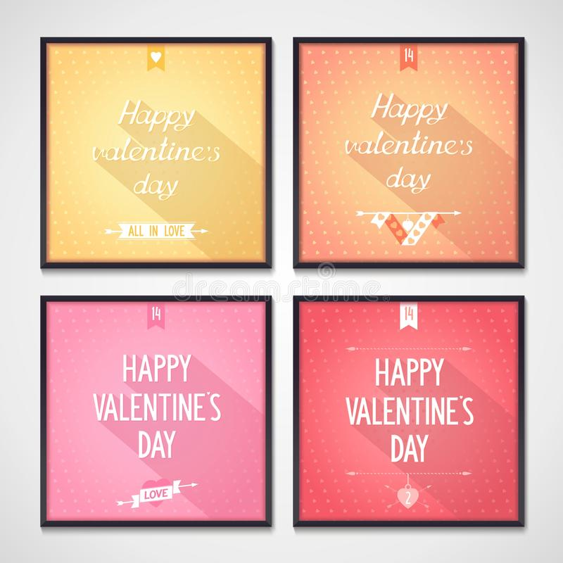 Valentines Day flat design lettering royalty free stock photos