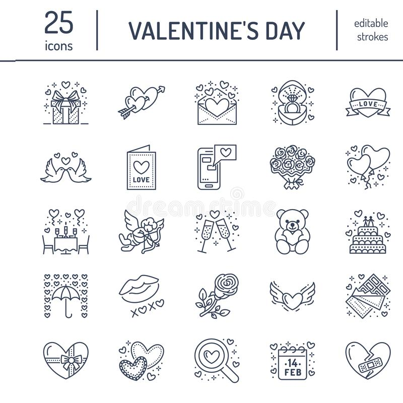 Valentines day flat line icons. Love, romance symbols - hearts, engagement ring, wedding cake, Cupid, romantic date. Valentine card, doves kiss. Thin linear royalty free illustration
