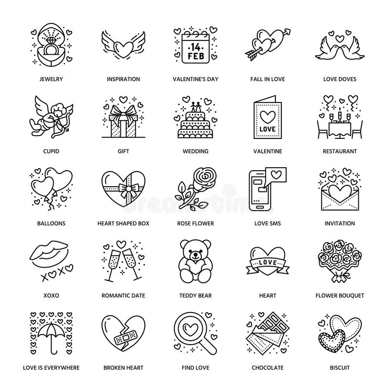 Valentines day flat line icons. Love, romance symbols - hearts, engagement ring, wedding cake, Cupid, romantic date. Valentine card, doves kiss. Thin linear vector illustration