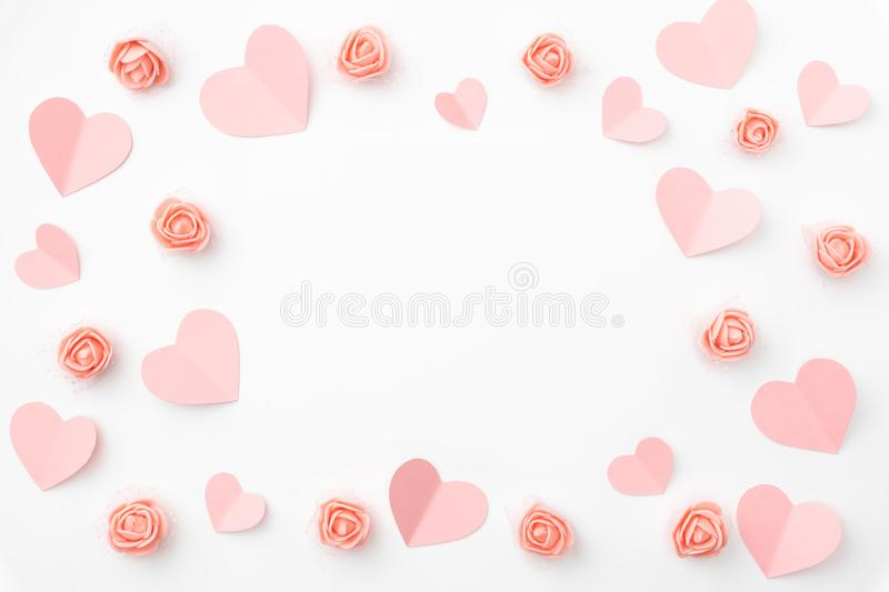 Valentines day floral background with coral or pink flowers shape heart flat lay. Mothers day, 8 March Women day. Top view. Valentines day floral composition royalty free stock images