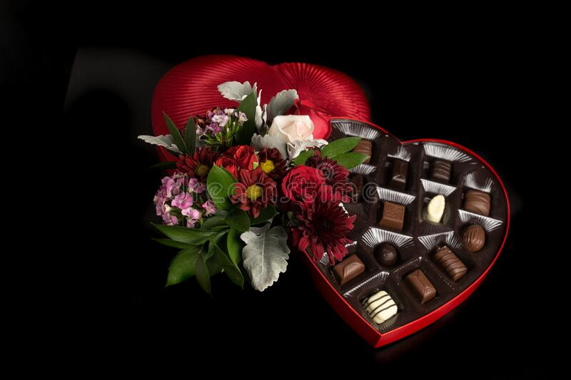 Valentines Day Flowers and Chocolates royalty free stock image