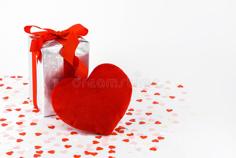 Valentines Day and gift box and Heart Shape pillows stock photography