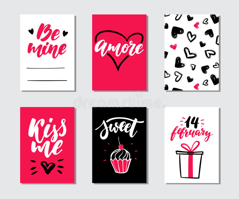 Download Valentines Day Gift Card Vector Set. Hand Drawn Printable  Templates With Lettering, Texture