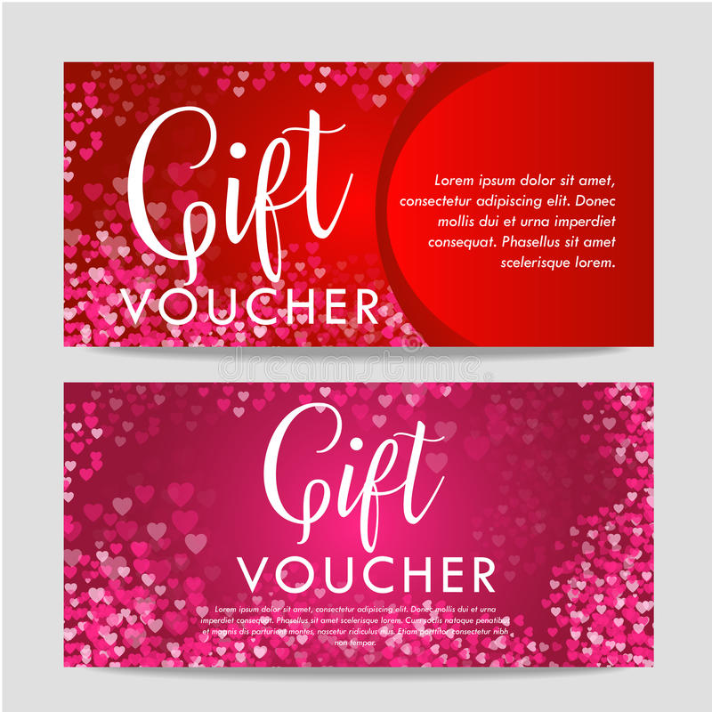 Valentines day gift card voucher template. On beautiful background with hearts and space for your text. stock photos