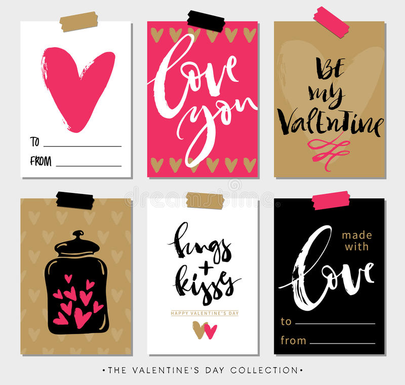Valentines day gift tags and cards with calligraphy. stock illustration