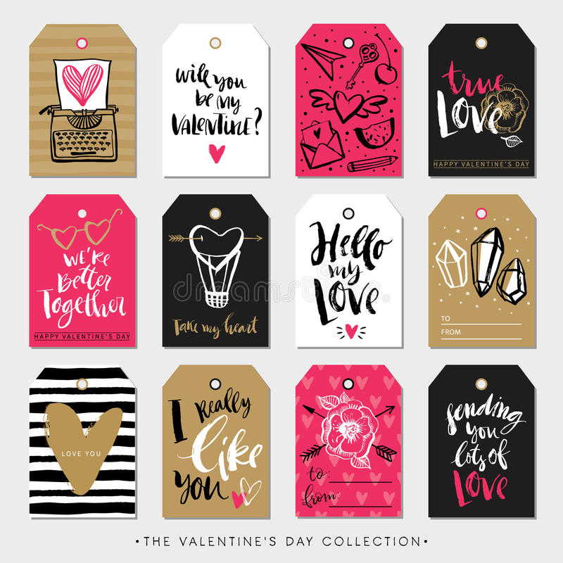 Valentines day gift tags and cards. Calligraphy hand drawn design. vector illustration