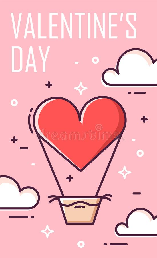 Valentines day greeting card with air balloon and clouds on pink background. Thin line flat design. Vector banner vector illustration