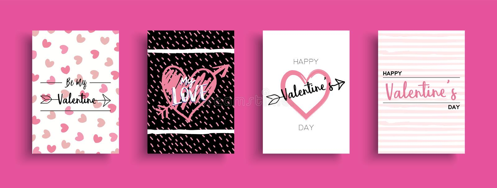 Valentines Day love quote greeting card set stock illustration