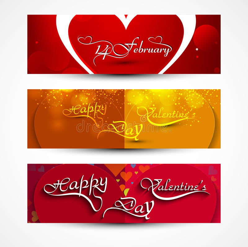 Valentines day greeting card colorful three headers set design stock illustration