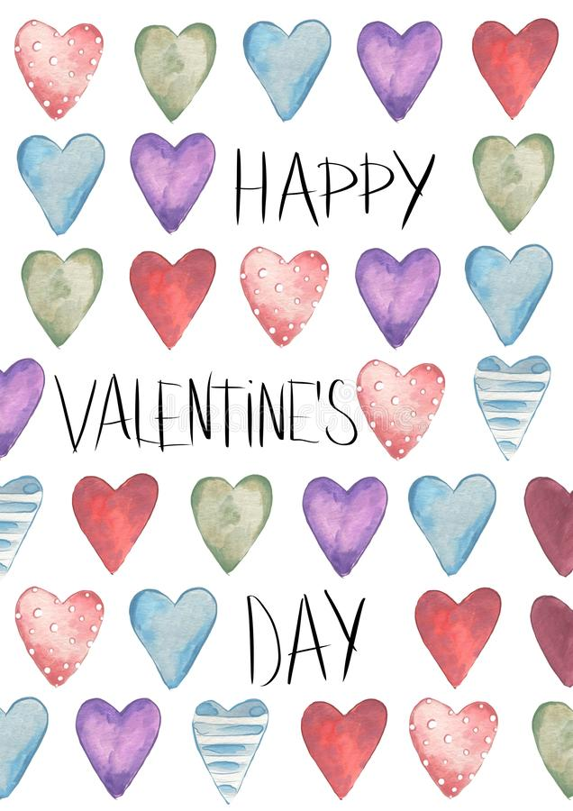 Valentines Day. Greeting card. Delicate Love. Hand drawn water color hearts and text. On the flat white background royalty free illustration