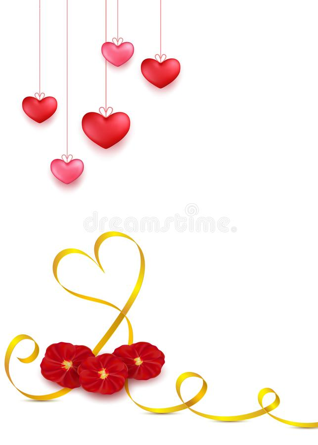 Valentines day greeting card design in 3d style on white background. Hanging red hearts with golden stripe and red rose petals flo stock illustration