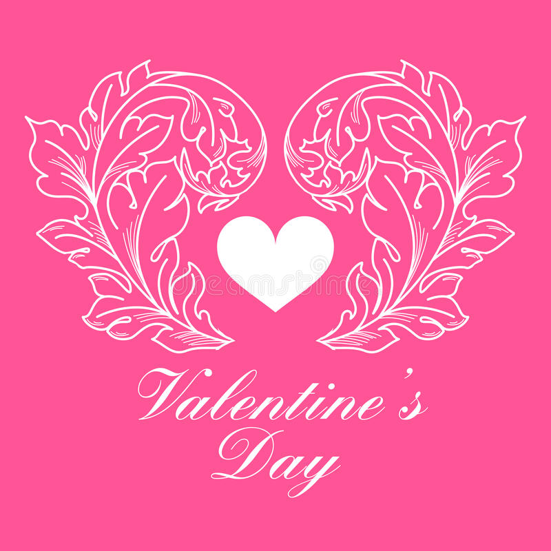 Valentines day greeting card with floral elements vector illustration