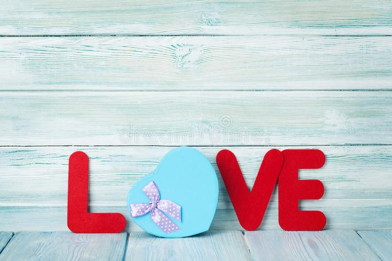 Download Valentines Day Greeting Card With Love Word And Gift Stock Photo Image Of Card