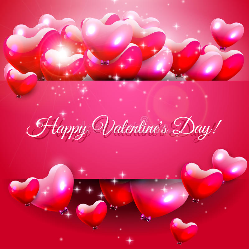 Valentines Day greeting card. Valentines Day pink greeting card with hearts and place for text stock illustration