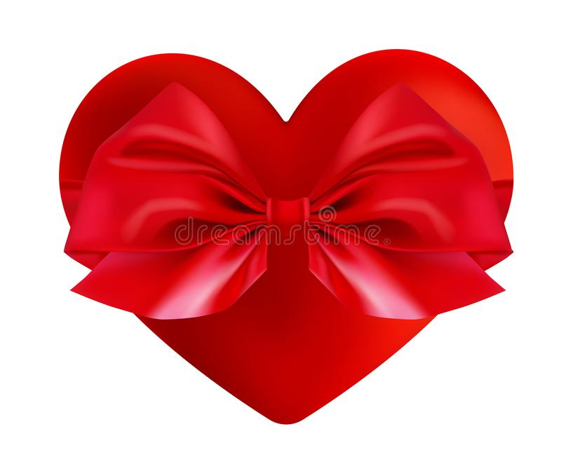 Valentines Day greeting card. Realistic 3d red heart shape. Holiday vector illustration. Valentine s day gift box symbol stock illustration