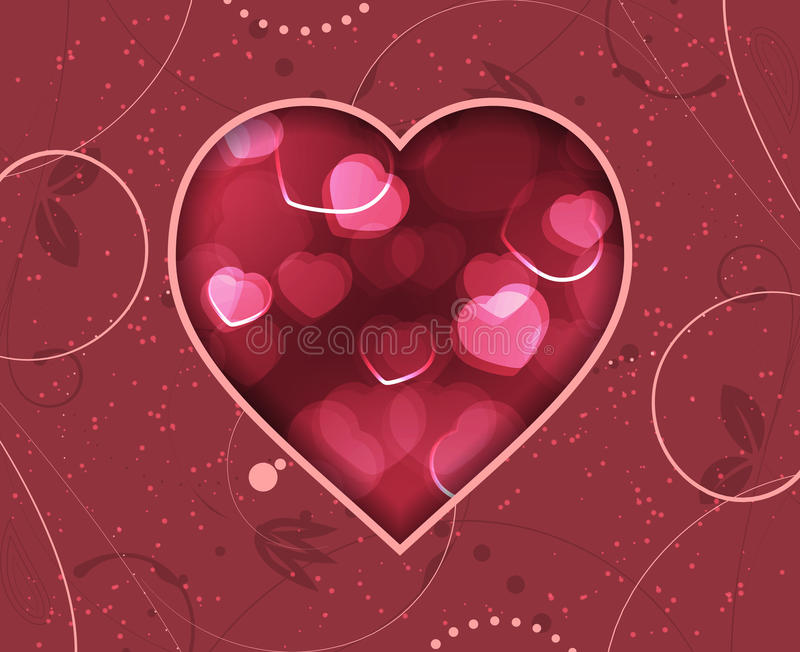Valentines Day greeting card with red blurry hearts and floral pattern. royalty free illustration