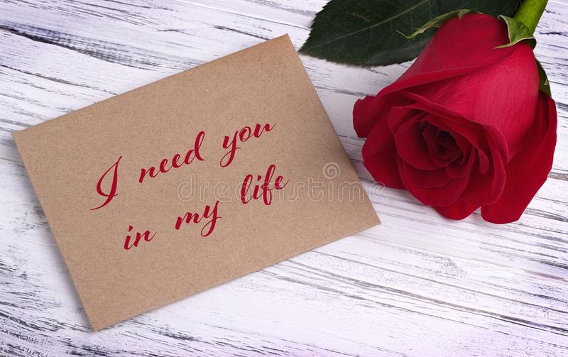 Valentines day greeting card with red rose and lettering i need you download valentines day greeting card with red rose and lettering i need you in my life m4hsunfo
