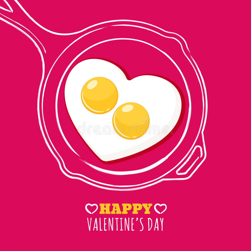 Valentines day greeting card with romantic breakfast illustration. Fried egg in heart shape and hand drawn watercolor pan. vector illustration