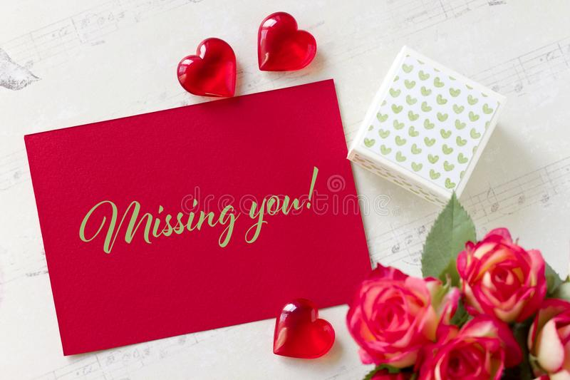 Valentines day greeting card with roses gift box hearts and download valentines day greeting card with roses gift box hearts and lettering missing you stock m4hsunfo