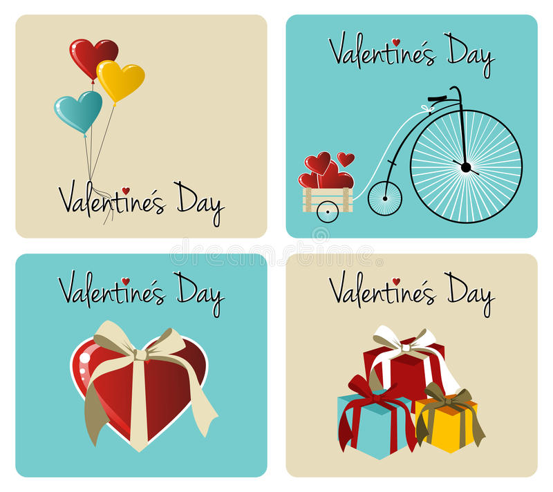 Valentines day greeting card set royalty free illustration