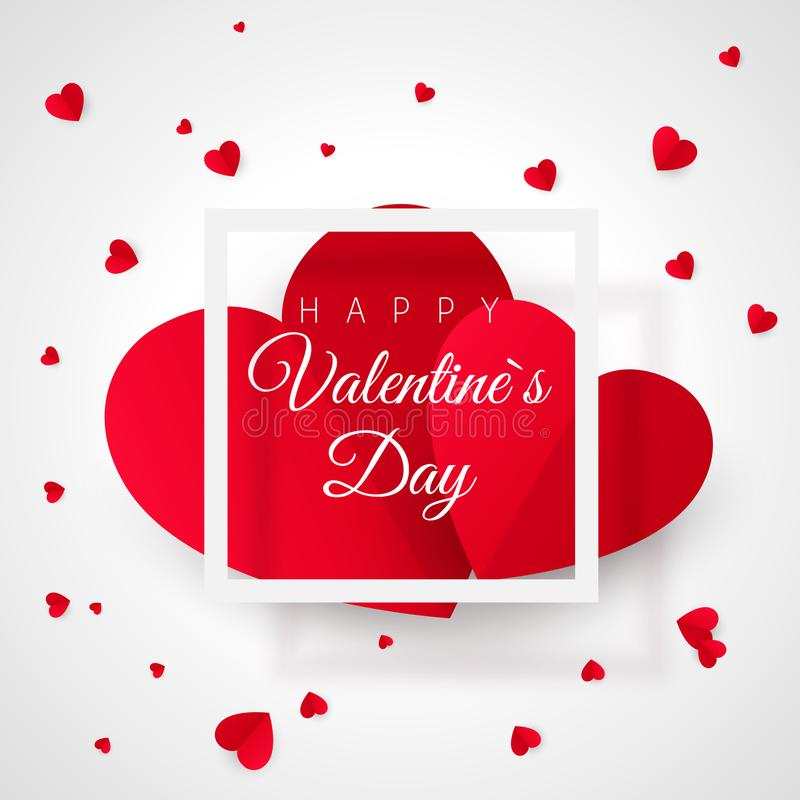 Valentines Day Greeting Card Template. Two Big Heart And White Frame ...