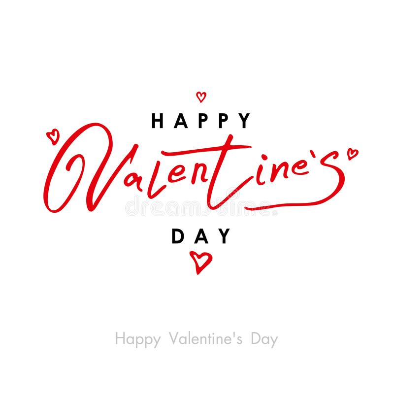 Valentines Day greeting card template with typography red and black text happy valentine`s day and red hearts. stock illustration