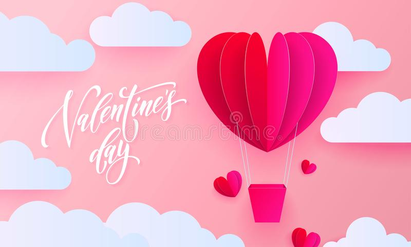 Valentines day greeting card of valentine paper art heart balloon with gift box on white cloud pattern background. Vector Happy Va stock illustration