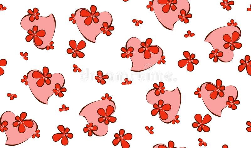 Valentine`s Day. Heart in flowers. Vector Illustration. royalty free stock photography