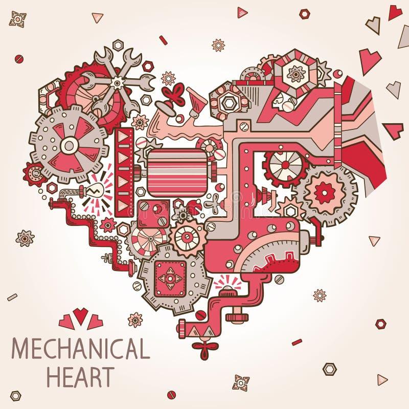 Valentines day greeting card. Vintage hear twith gears and cogs. Valentines day greeting card on ornate background stock illustration