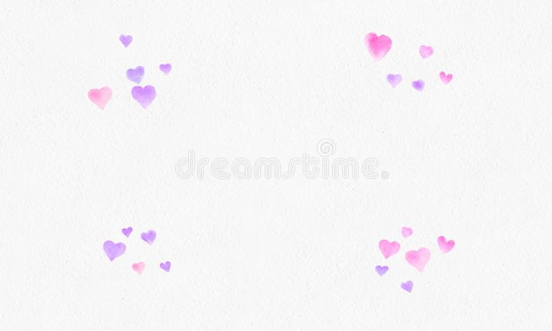 Heart shapes watercolor background. Romantic Confetti splash. Background with Heart Confetti. Falling red and pink paper hearts. stock photography