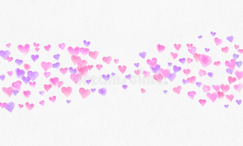 Heart shapes watercolor background. Romantic Confetti splash. Background with Heart Confetti. Falling red and pink paper hearts. stock image