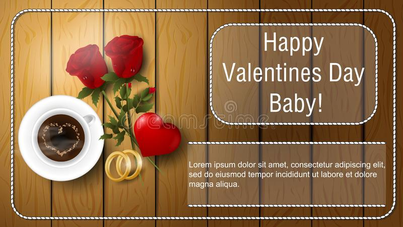 Valentines day greetings banner with space for text for postcard design decoration coffee Cup flowers roses rings and heart lie on royalty free illustration