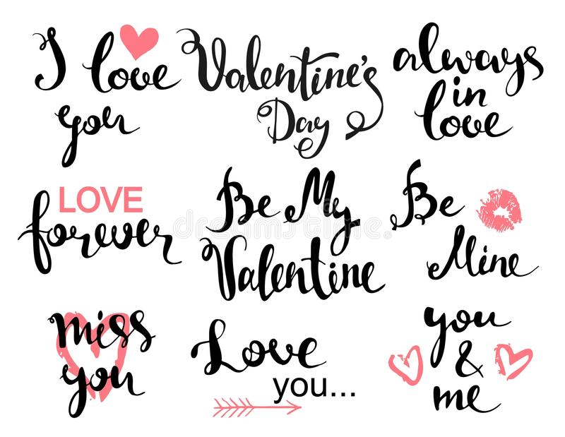 Download Valentines Day Hand Drawn Design Elements With Calligraphy. Handwritten Modern Lettering. Stock Vector - Image: 83712396