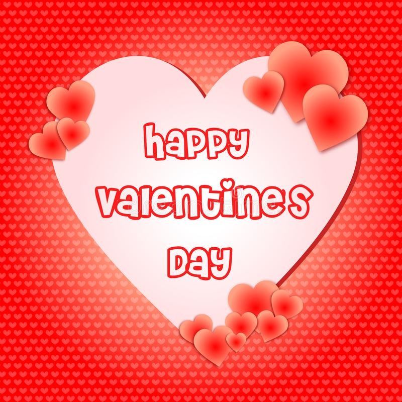 Valentines day happiness in heart shape red background vector illustration