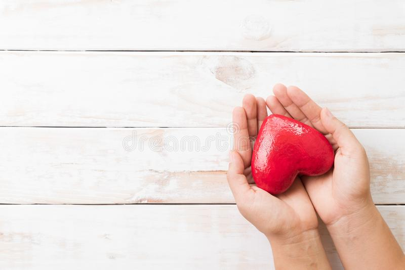 Valentines day, Health care, love, organ donation concept. Woman hands holding red heart royalty free stock image