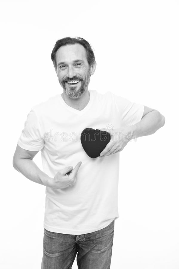 Valentines day. Health care. Mature bearded man with red heart. heart transplant. Holiday celebration. Love. problems stock photo