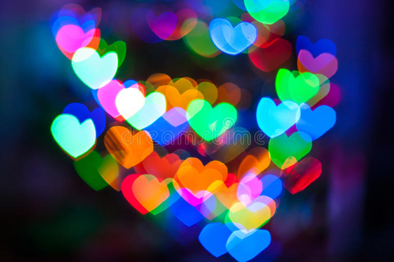 Valentines Day heart bokeh. Colored love heart bokeh Valentines Day background royalty free stock photo