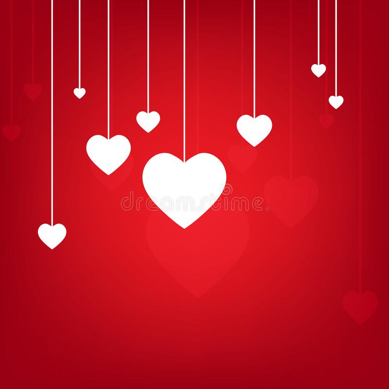 Valentines Day Heart Flowers on Red Background. Is a general illustration royalty free illustration