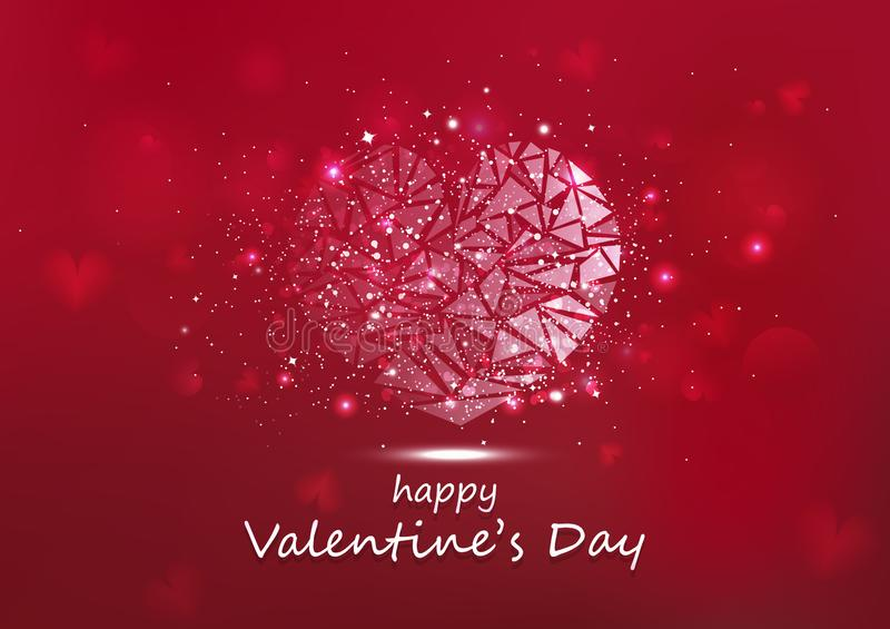 Valentines day, heart glowing polygon stars shiny glitter luxury abstract background seasonal holiday vector illustration stock illustration
