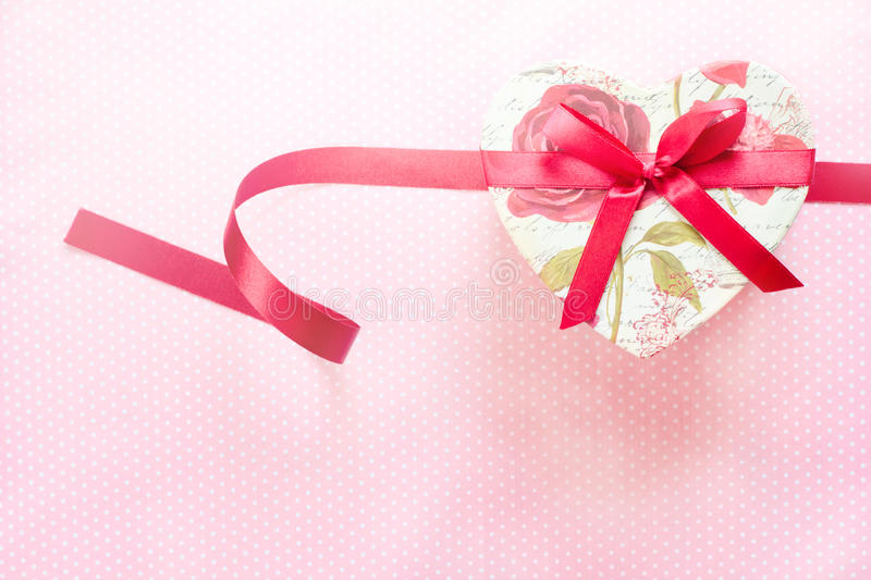 Valentines Day and Heart shaped gift box.holiday background. Valentines Day and Heart shaped gift box.Vintage holiday background royalty free stock photo