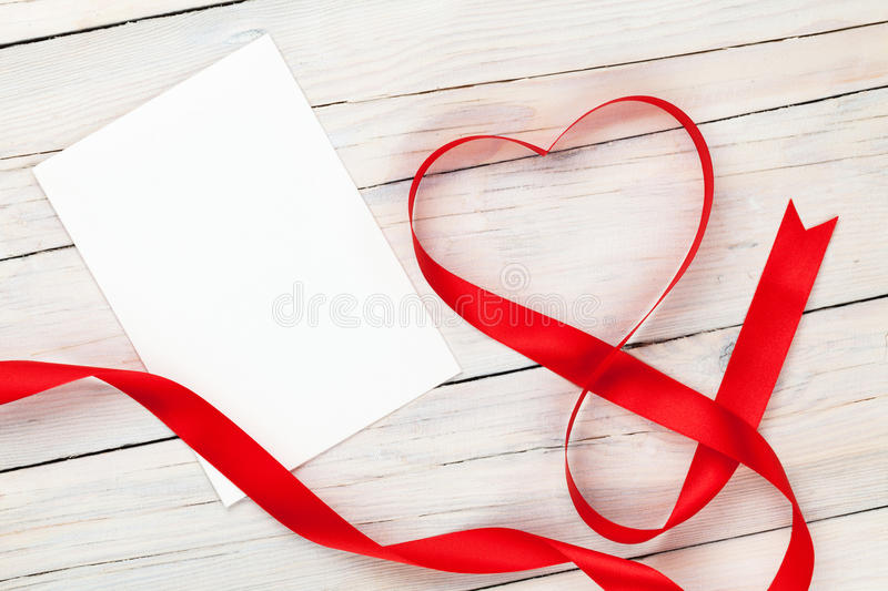 Valentines day heart shaped red ribbon and blank greeting card stock download valentines day heart shaped red ribbon and blank greeting card stock photo image of m4hsunfo