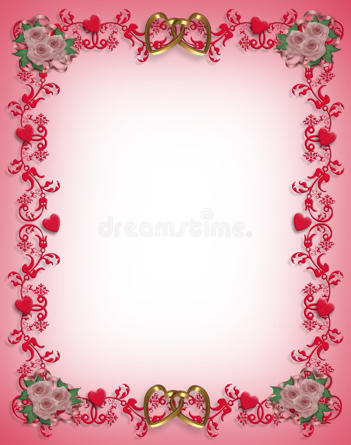 Valentines Day Hearts border design stock illustration