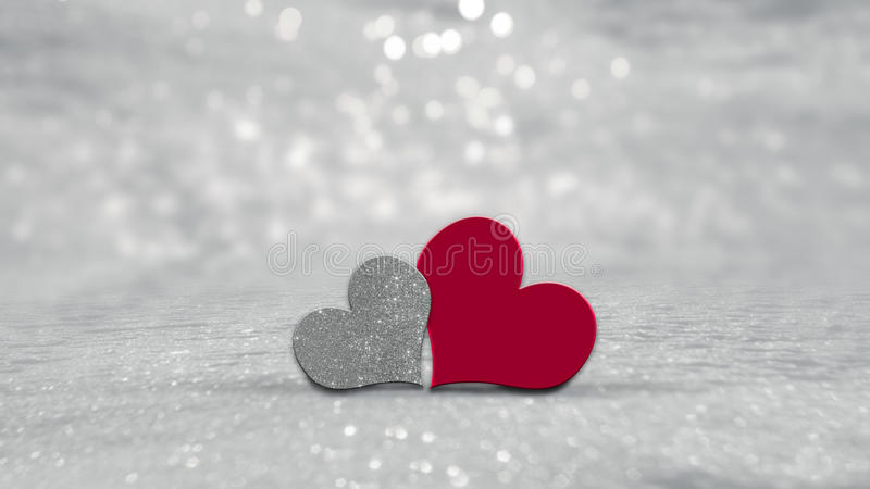 Valentines Day hearts on silver background stock illustration