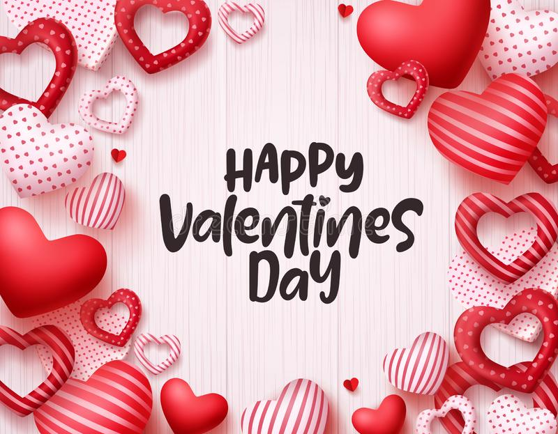 Valentines day hearts vector background. Happy valentines day greeting card banner design. With text in empty white space and red hearts shape elements. Vector vector illustration