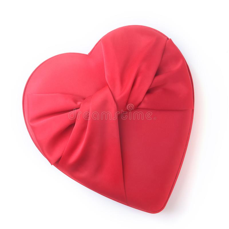 Valentines day holiday concept background. Red gift box in the shape of a heart. Top view. stock photos