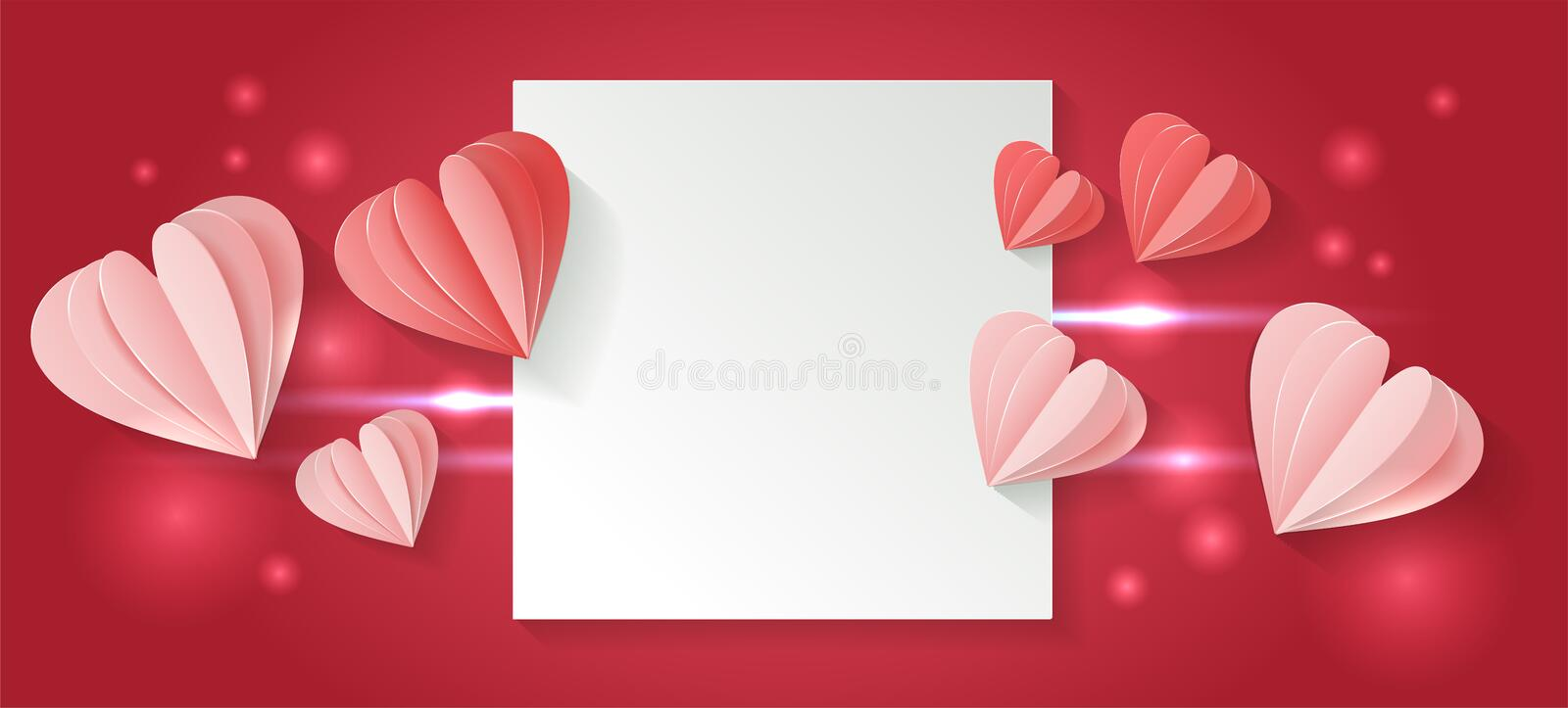 Valentines day horizontal background with paper cut red and pink heart shape hot air balloons pattern. Vector volume illustration stock illustration