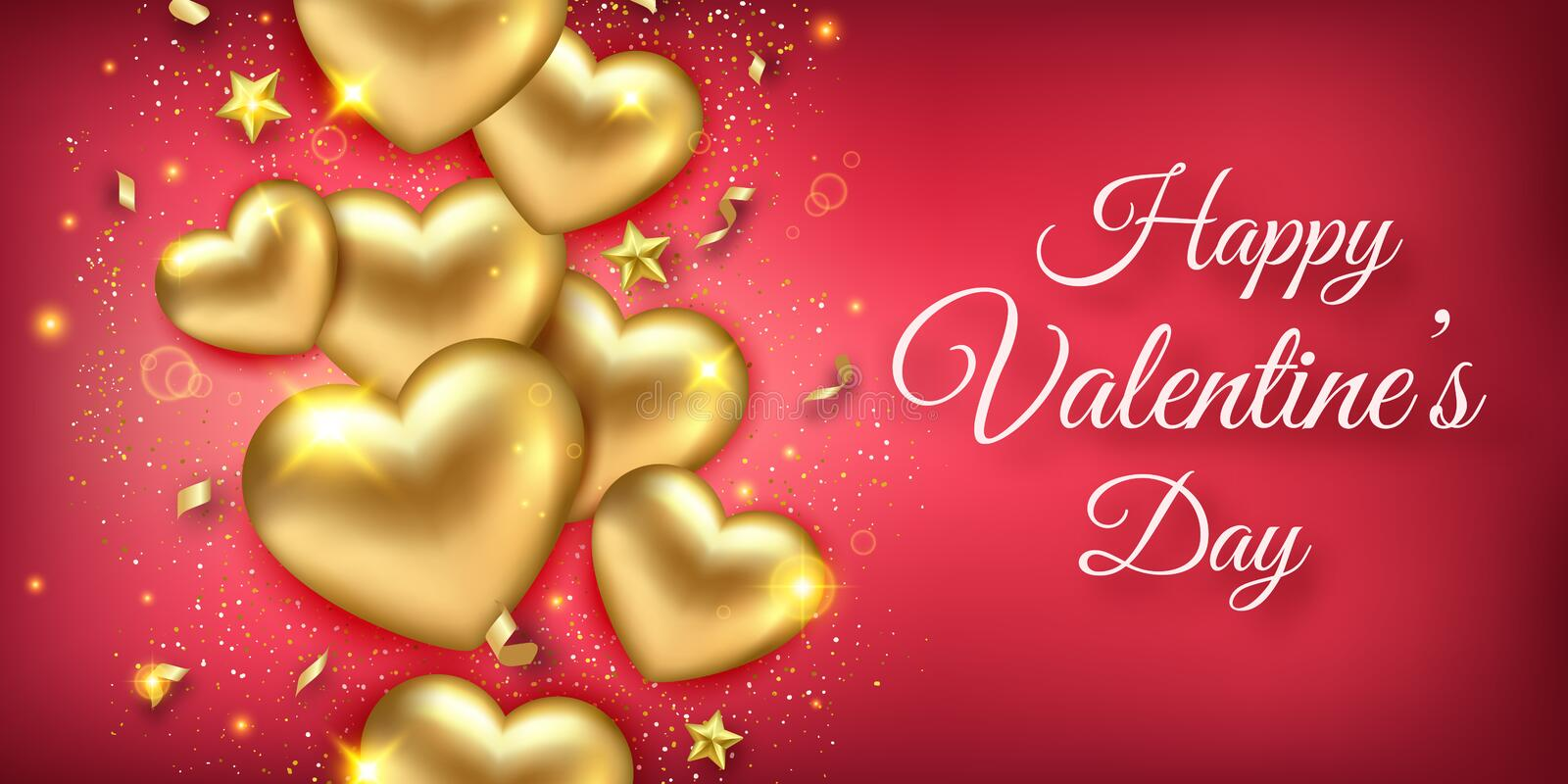 Valentines Day horizontal banner with shining golden hearts, ribbons, stars and confetti. Holiday card illustration on stock illustration