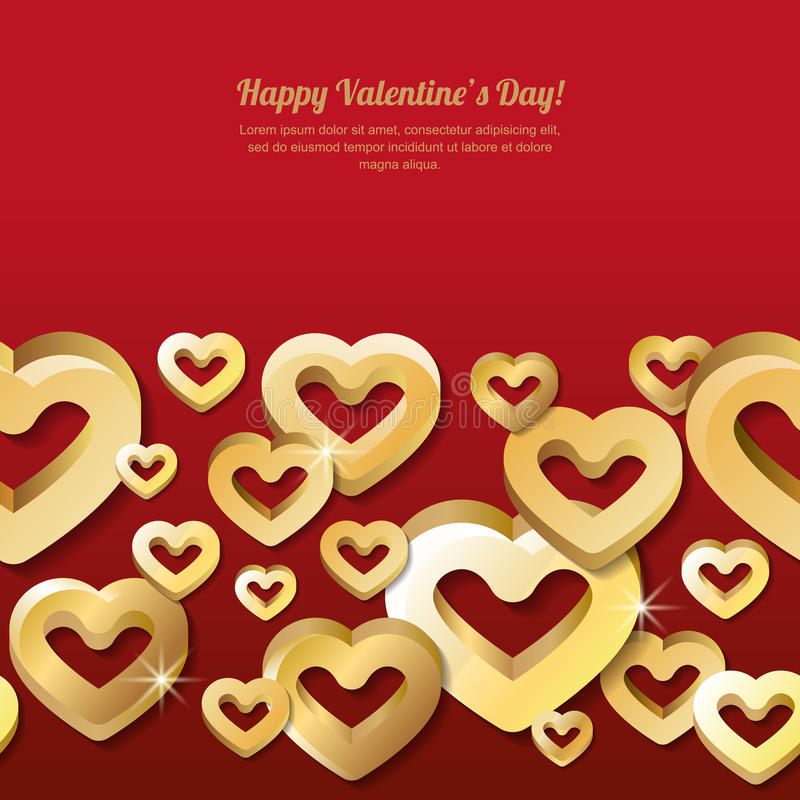 Valentines day horizontal seamless red background with 3d stylized gold hearts. stock illustration