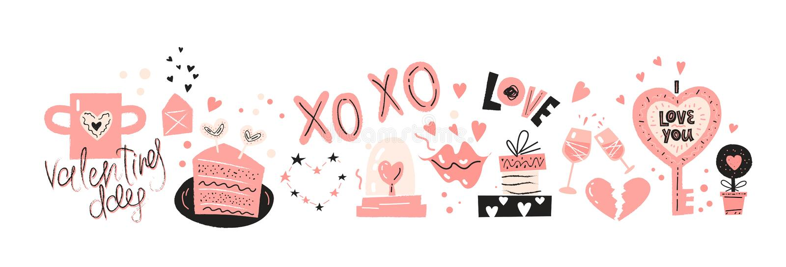 Valentines Day icons set design with hand drawn elements vector illustration