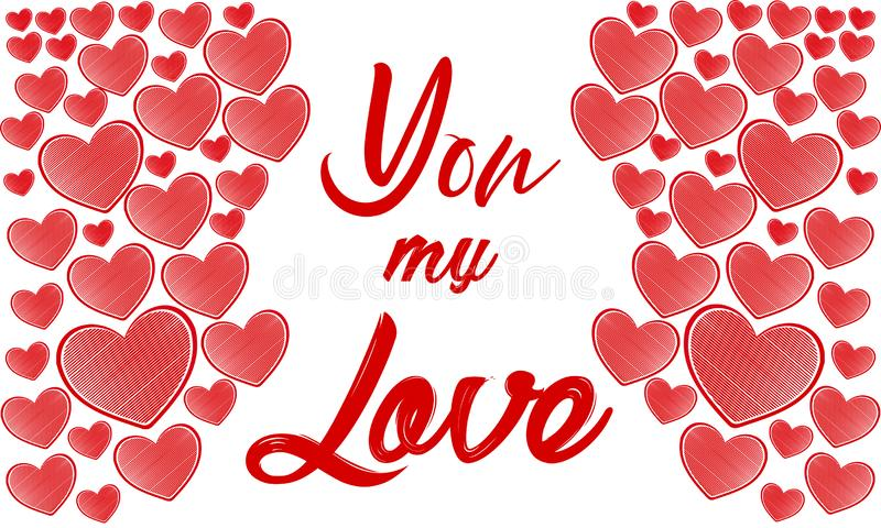 Valentines day illustration. Happy Valentine card with greetings. Lettering logo, calligraphy inscription with many hearts. Templa stock illustration
